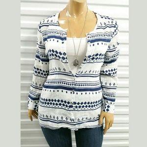 JM Collection Blue White Linen Shirt